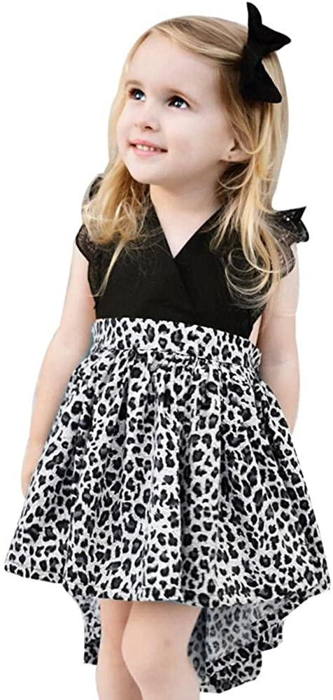 Highpot Girl (0~6T) Sororal Leopard Lace Splice Romper Tutu Dress+Headband 2PC