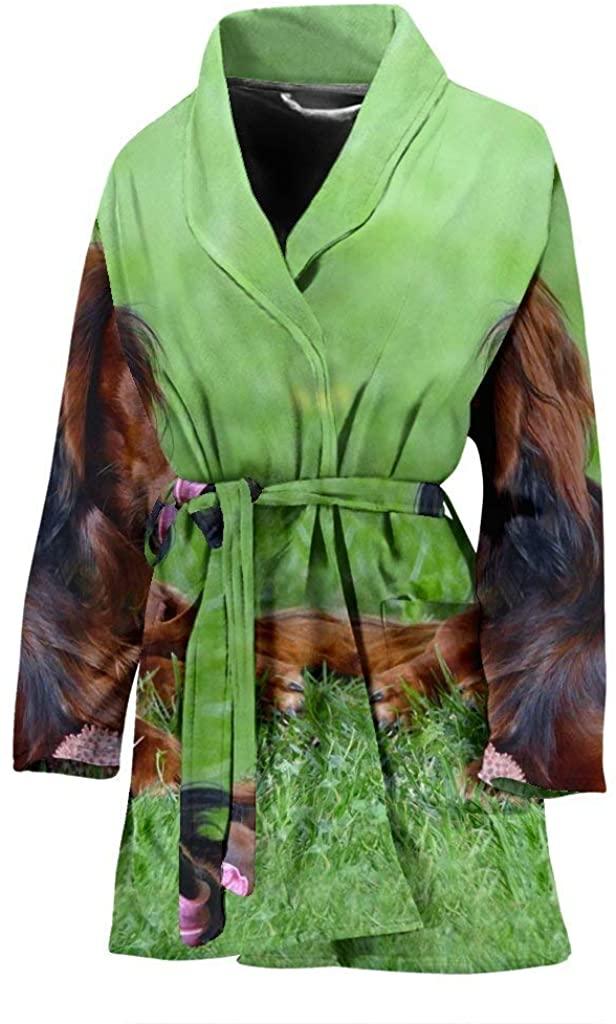 Dachshund Dog Print Women's Bath Robe