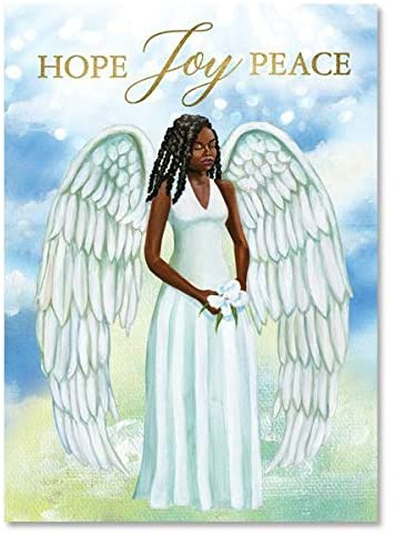 African American Expressions - Hope Joy Peace Angel Boxed Christmas Cards (5