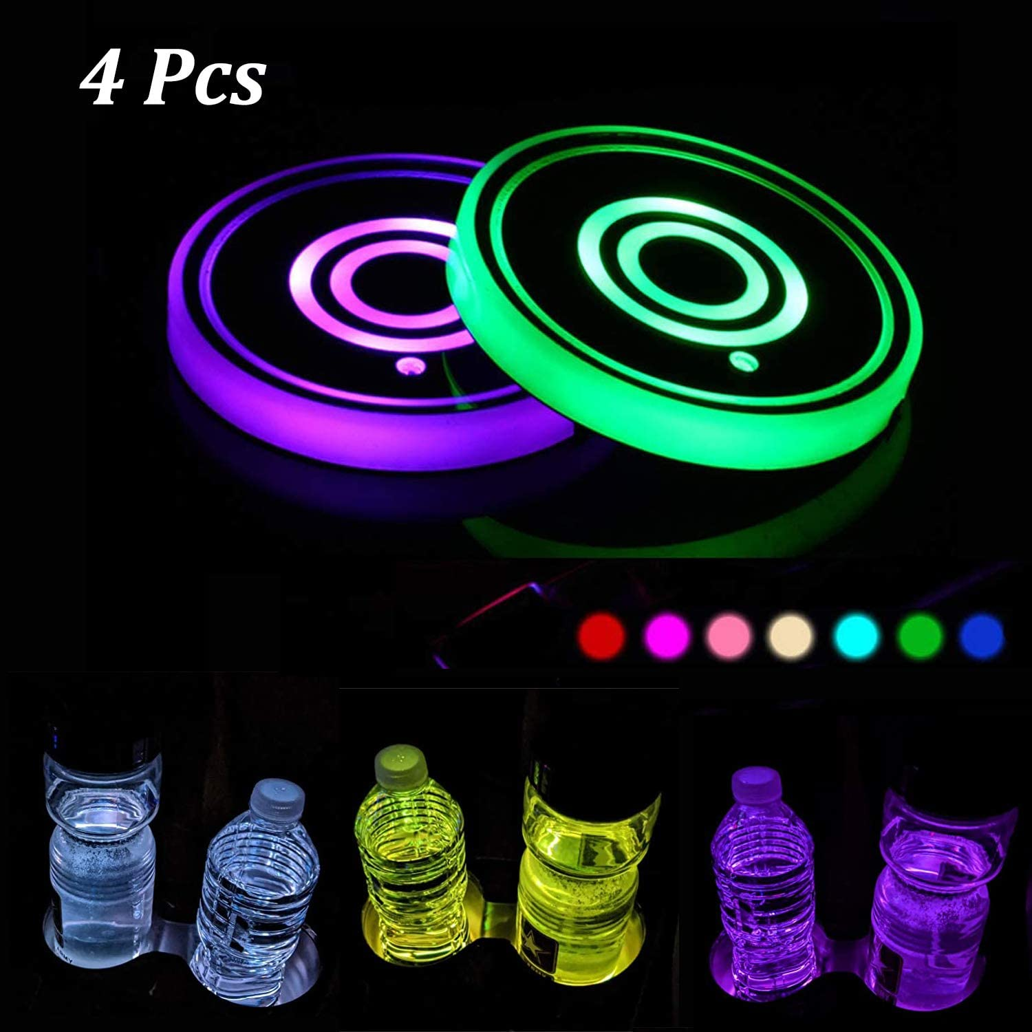 HY-NINHAO LED Car Cup Holder Lights, 4 Pack LED Interior Atmosphere Lamp, 7 Colors Changing USB Charging Mat Luminescent Cup Pad, Car Logo Coaster.