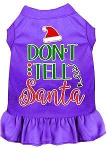 Mirage Pet Product Don't Tell Santa Screen Print Dog Dress Purple 4X