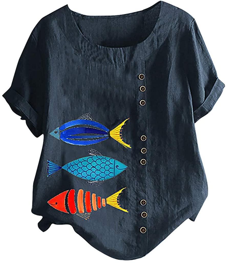 Women's Embroidered Blouse Tunic Linen Tops Short Sleeve Hi-Low Hem Shirt Cotton Linen Jacquard Blouses Top T-Shirt