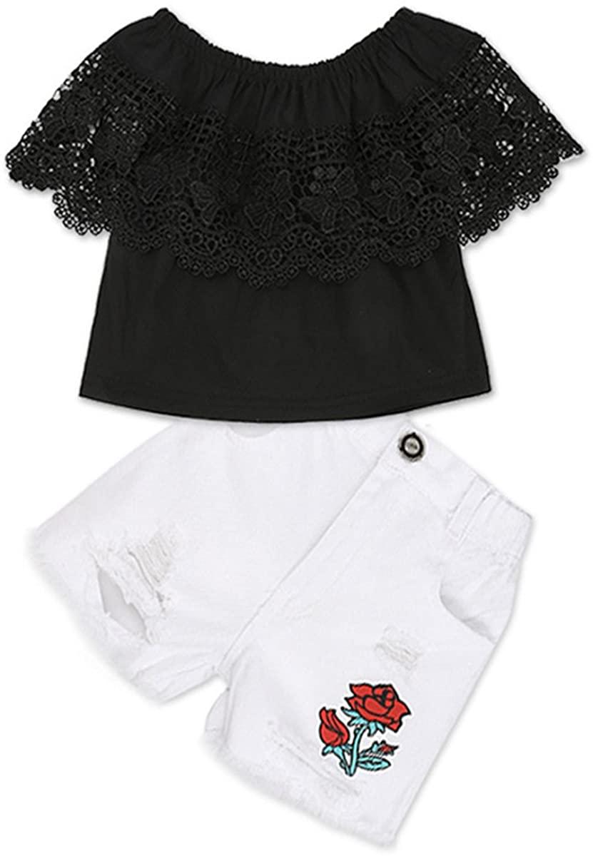 2 Pcs Baby Kids Little Girls Off-Shoulder Black Short Sleeve Lace Shirt Tops+Rose Hole Denim Pants Outfits