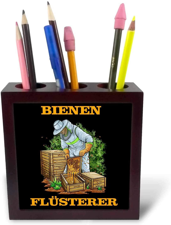 3dRose Sven Herkenrath Beekeeper - Funny Beekeeper Beekeeping with German Quotes Bees Honey - 5 inch Tile Pen Holder (ph_322718_1)
