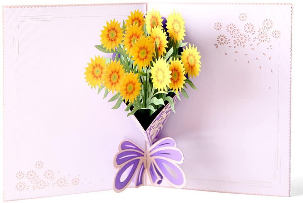 Black Deals Friday Cyber Deals Monday Deals Sales-3D Pop Up I Love Mom Handmade Luck Best Wish Greeting Card Kirigami Paper Craft (Yellow Flower)