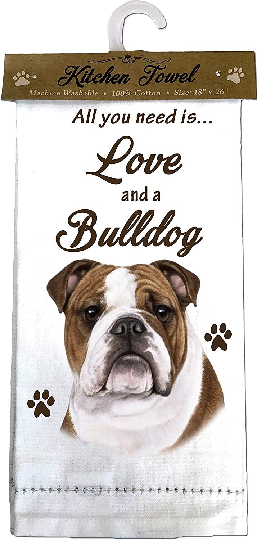E&S Pets Bulldog Kitchen Towels, Off-white