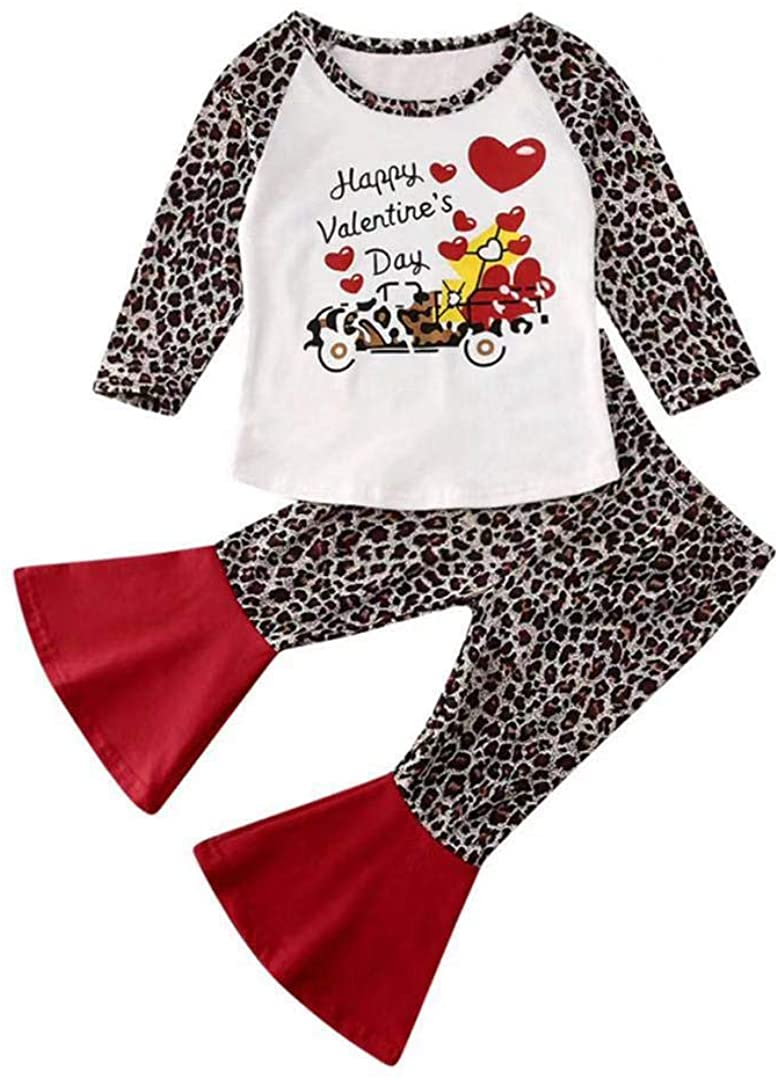 2Pcs/Set Kids Toddler Baby Girl Valentine's Day Outfit T-Shirt Tops+Leopard Bell-Bottomed Pants Outfits (Leopard, 3-4T)