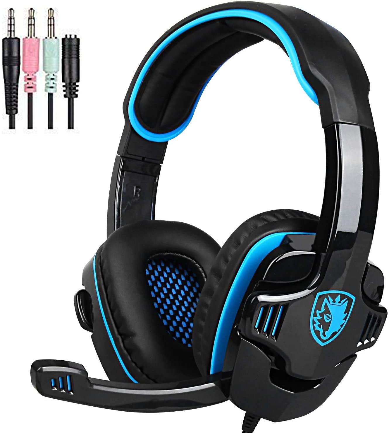 Stereo Gaming Headphone, SADES SA708GT Headset Earphone with Microphone (Black/Blue)