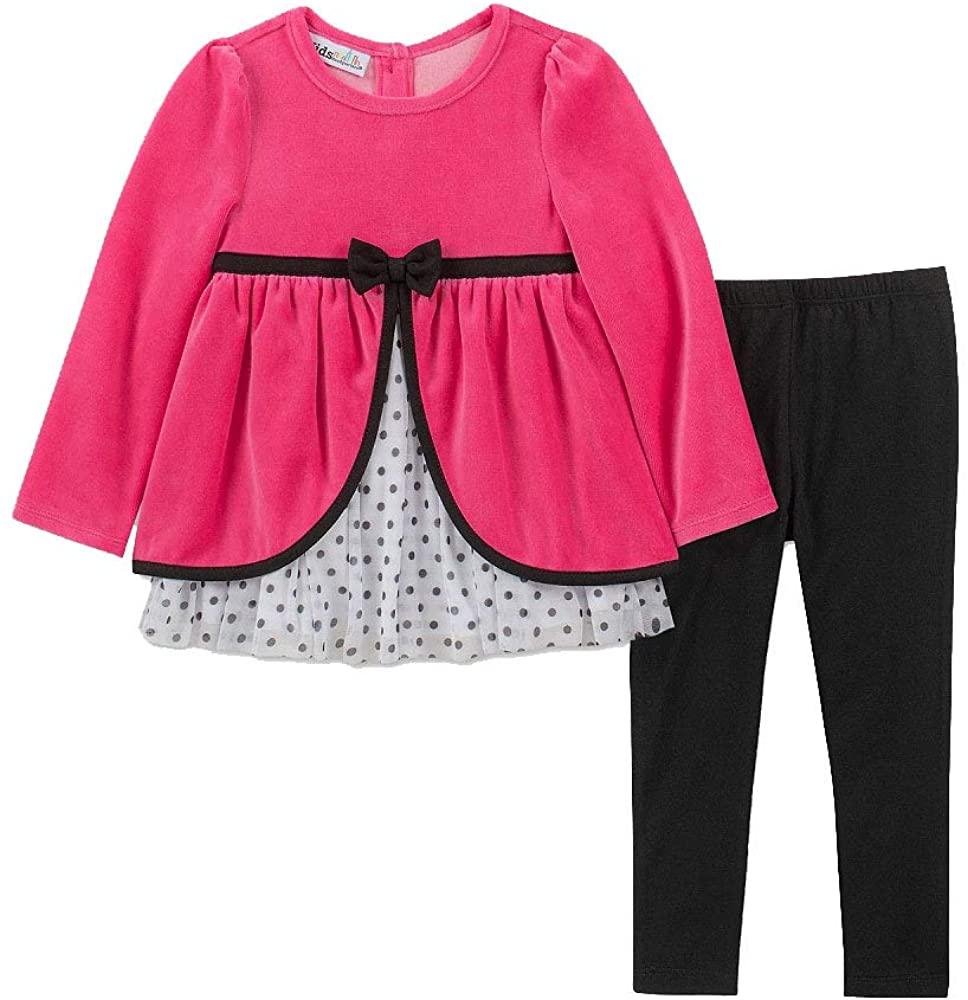 Kids Headquarters Baby Girls 2-Pc. Velour Split Tunic & Leggings Set