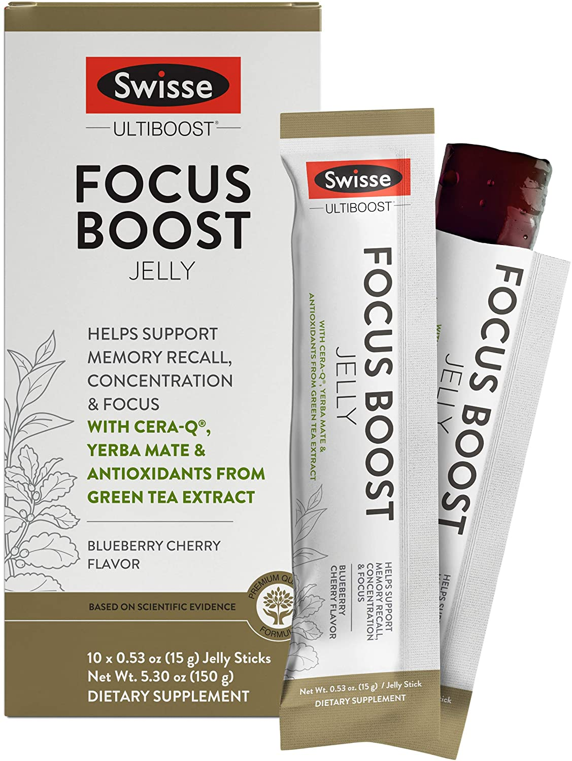 Swisse Ultiboost Focus Boost Jelly Sticks, Blueberry Cherry | Supports Brain Function, Memory Recall, & Concentration | Cera-Q, Yerba Mate, & Green Tea Antioxidants | Portable Jelly Sticks | 10 Count