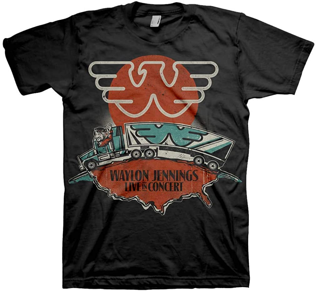 Waylon Jennings Men's Live T-Shirt Grey