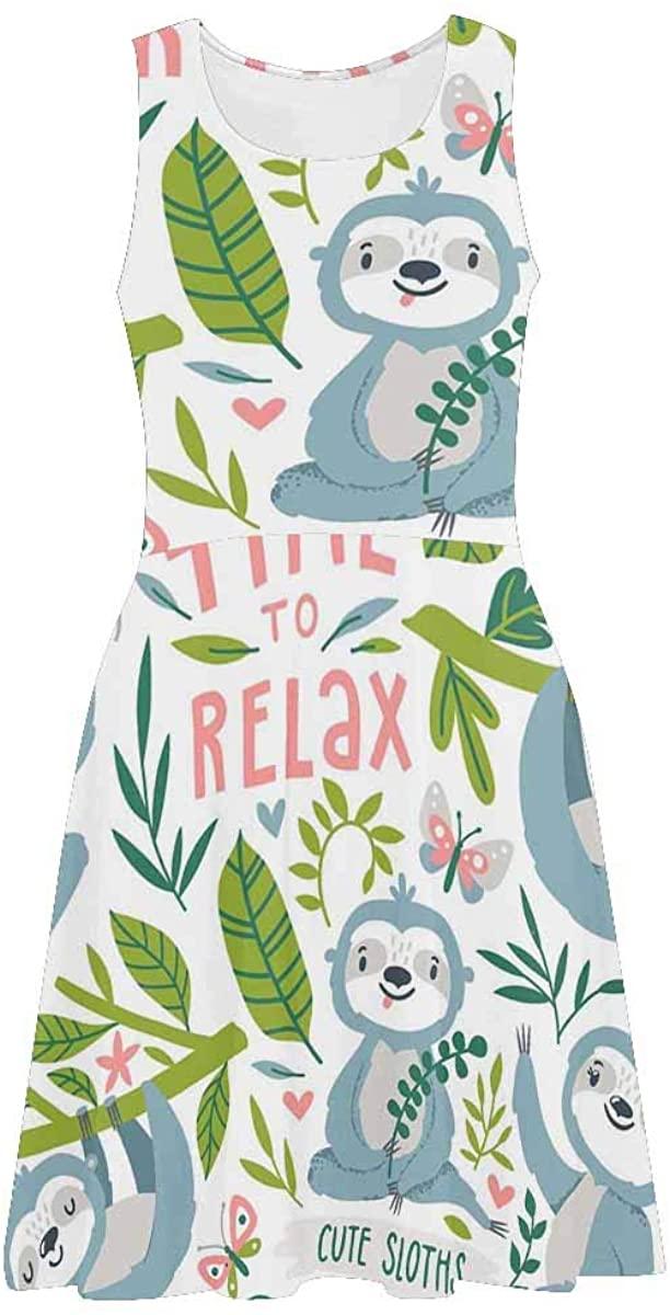 INTERESTPRINT Women's Sleeveless Sundresses Cute Sloths Leaves and Flowers Sleeveless Swing Tank Dresses 2XL