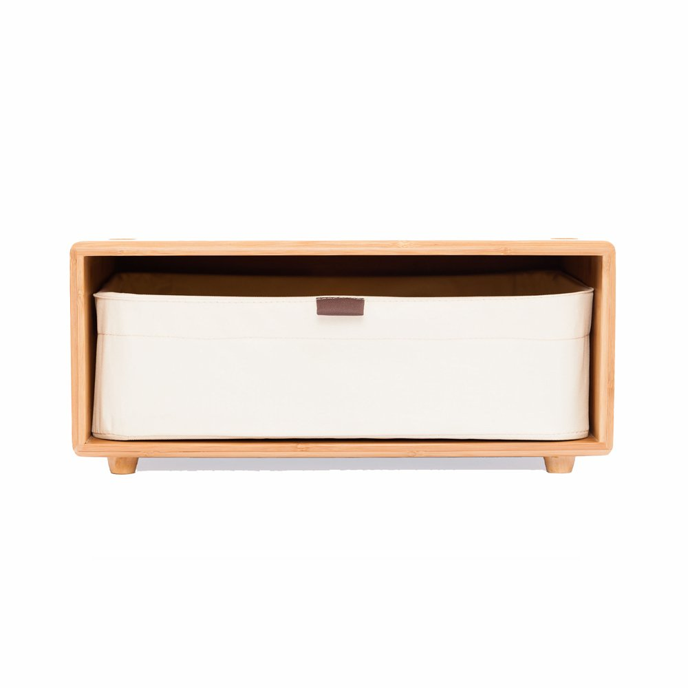 Bamboo Storage Dresser Stackable Chest of Drawer Unit Office Cabinet with Drawer (White, Short Legs)