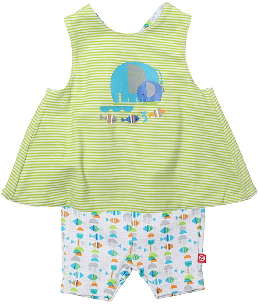 Zutano Baby Girls' Fishies Sunshine Top and Bike Short Set