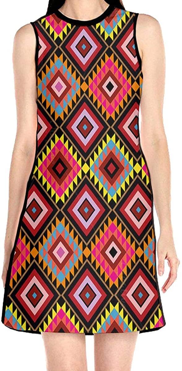 Native American Patterns Women's Sleeveless Dress Casual Slim A-Line Dress Tank Dresses