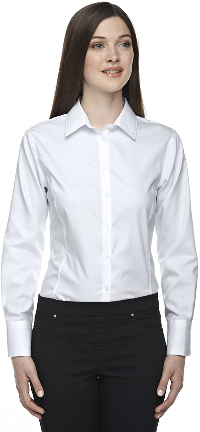 North End Ladies Boulevard Dobby Oxford Twill Shirt, Small, SILVER 674