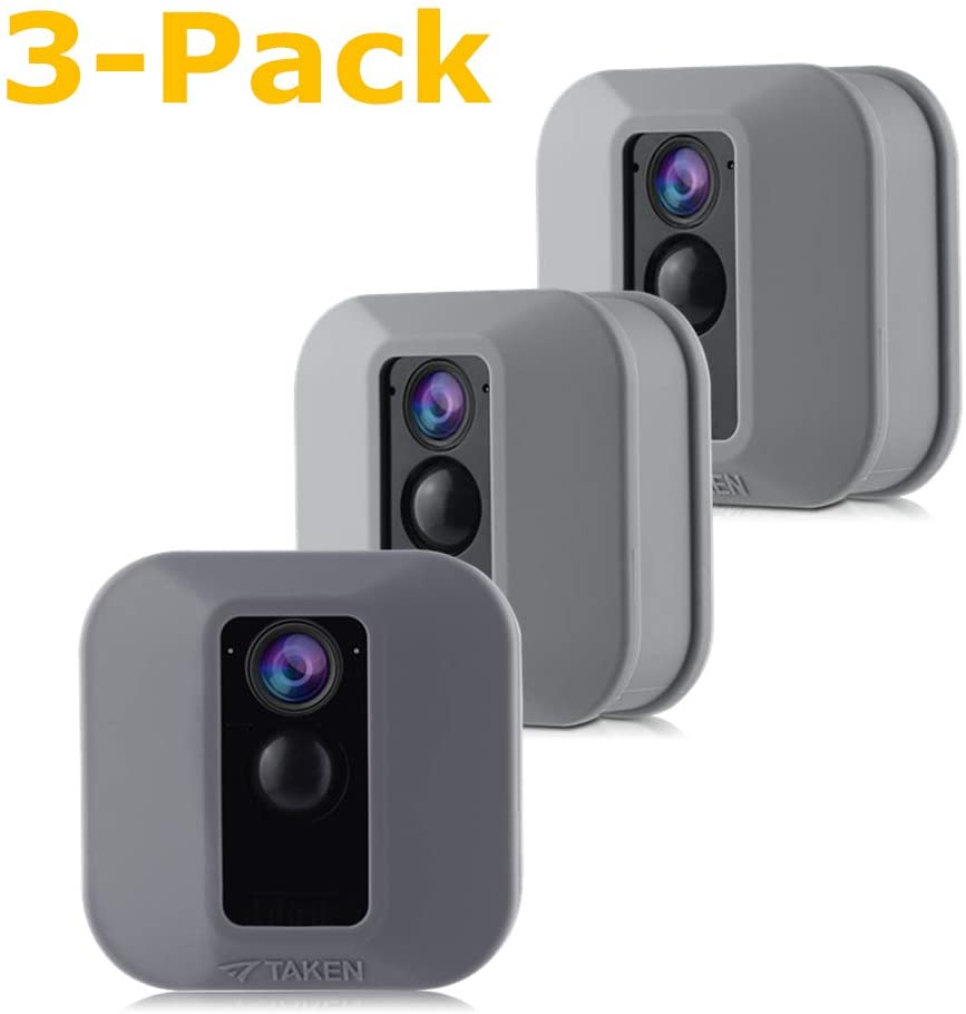 Silicone Skins Compatible for Blink XT Cameras, Tyrone Camouflage Protective Case Cover for Blink XT Outdoor Home Security Camera Accessories (Gray) (3 Pack)