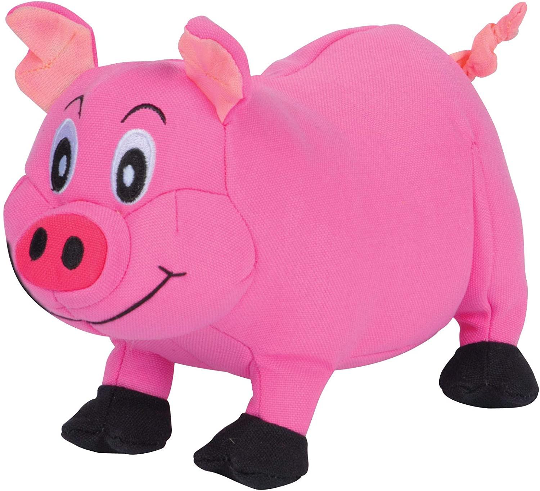 SmartPetLove Tender-Tuffs Big Shots - Tough Plush Dog Toys for Large Breeds - Plump Pink Pig