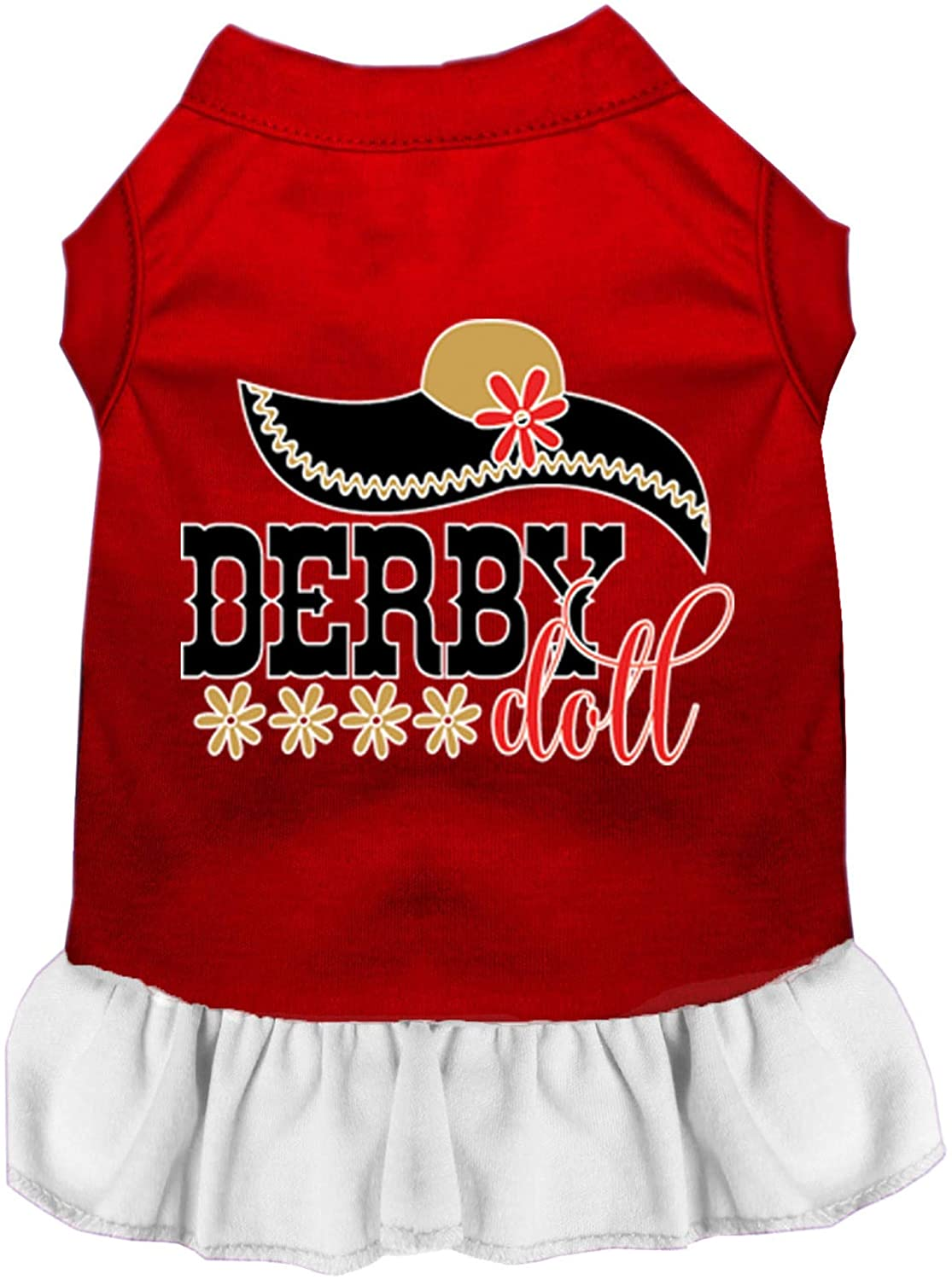 Mirage Pet Product Derby Doll Screen Print Dog Dress Red with White Lg (14)