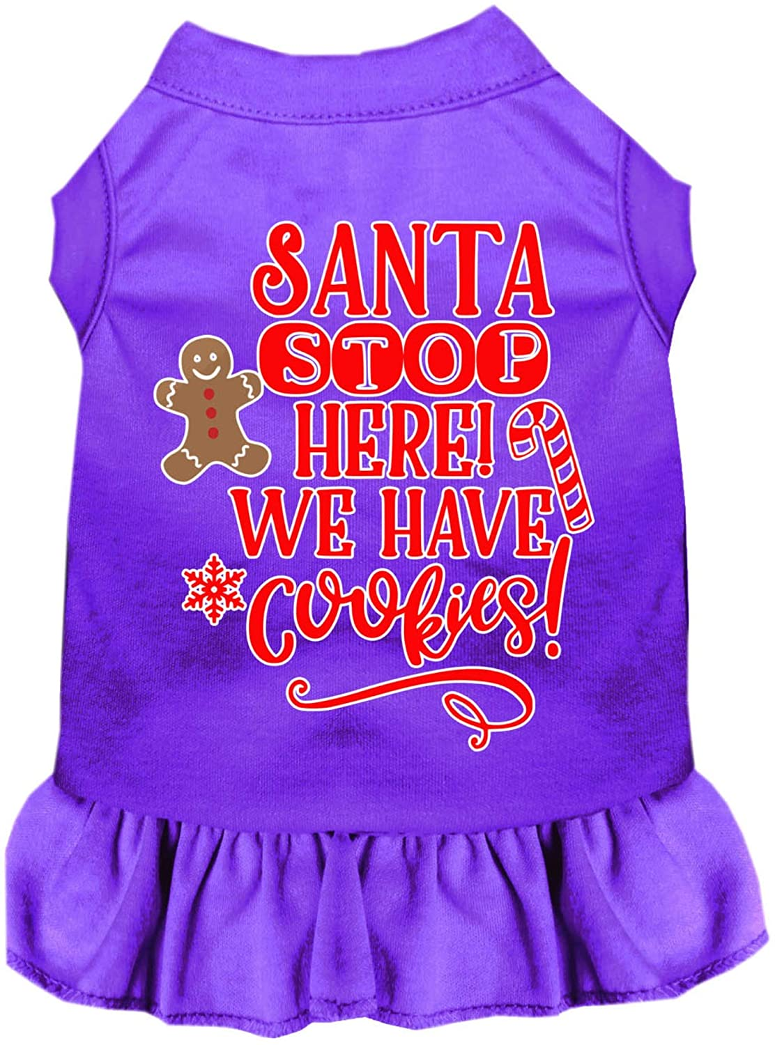Mirage Pet Product Santa, We Have Cookies Screen Print Dog Dress Purple Lg