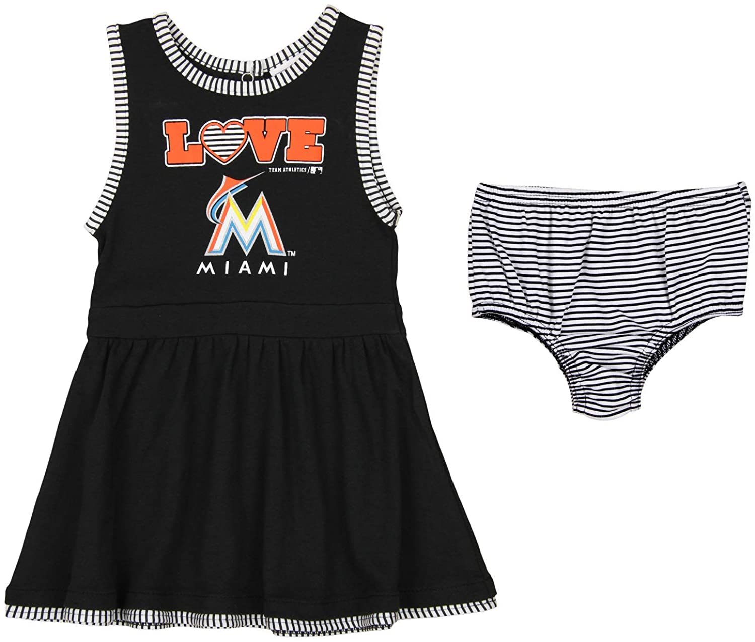 OuterStuff MLB Infant (12M-24M) Through Toddler (2T-4T) Tank Dress, Miami Marlins 2T