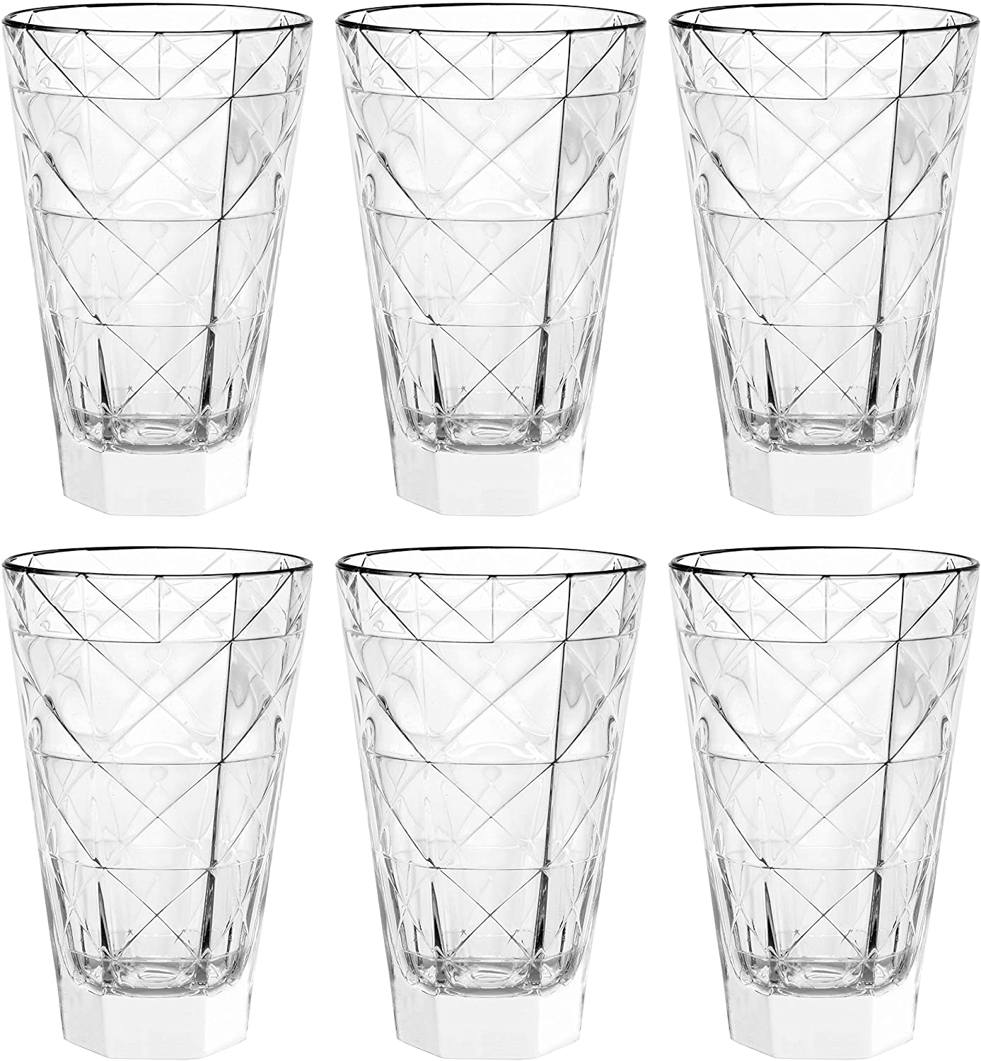 Barski - European Glass - Hiball Tumbler - Artistically Designed - 14.5 oz. - Set of 6 Highball Glasses - Made in Europe