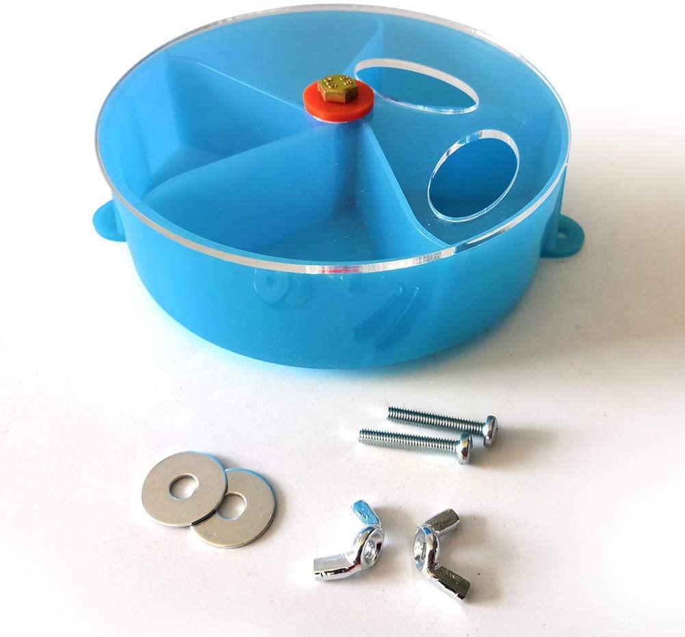elegantstunning Pet Parrot Rotatable Foraging Wheel Bite Resistant Puzzle Toy Blue
