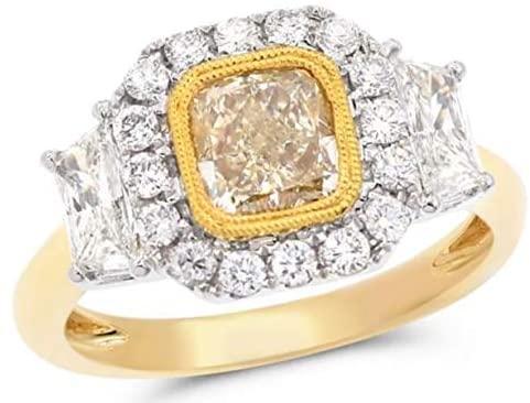 2.20CT WHITE & FANCY YELLOW DIAMOND 18K 2 TONE GOLD HALO OCTAGON ENGAGEMENT RING