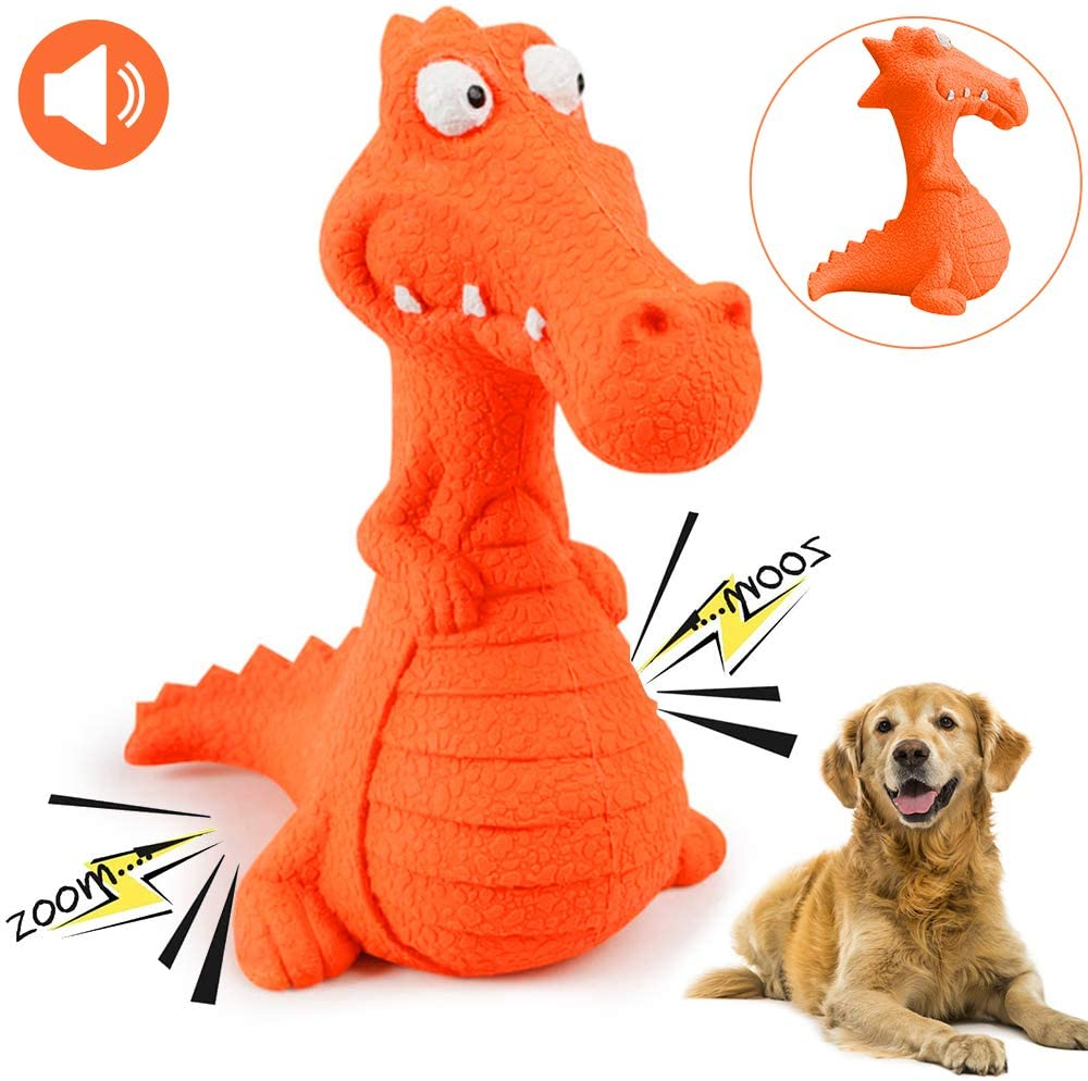 CHAFIN Dog Squeaky Toys Dog Chew Dinosaur Interactive Toys Durable Rubber Indestructible Training Toy Large Dog Gift(Red)