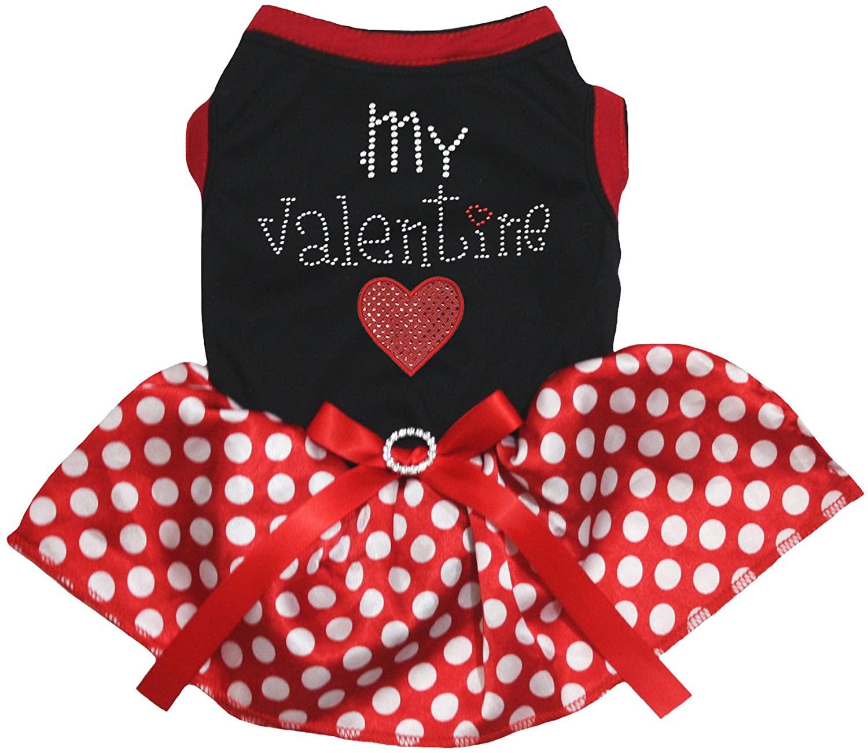 Petitebella My Valentine Heart Black Shirt Red Polka Dot Tutu Puppy Dog Dress