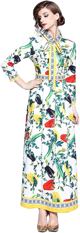 DOVWOER Women's Flower Print Party Tie Neck Maxi Dress Casual Flared Tank Dress