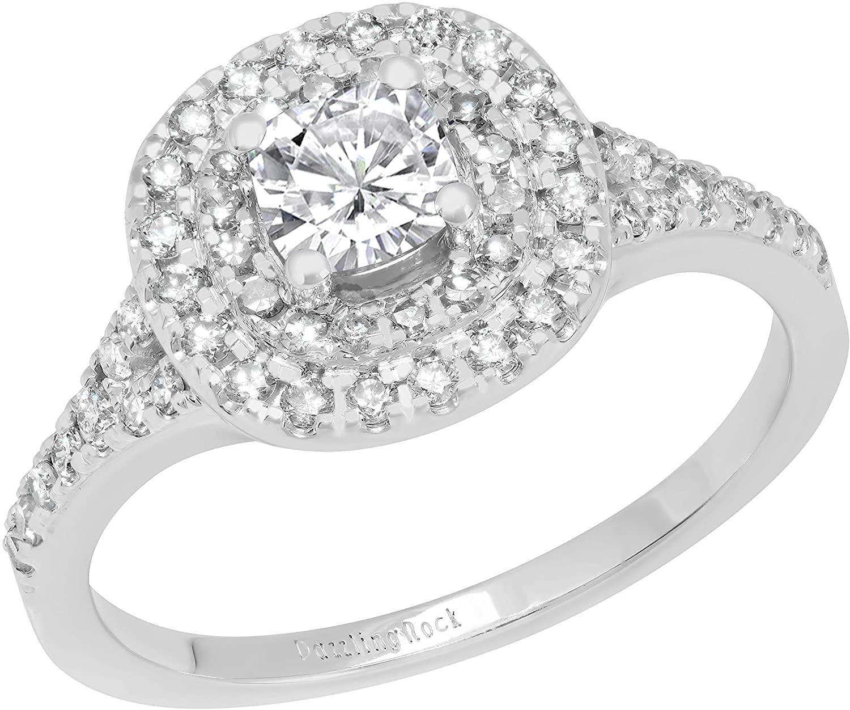 Dazzlingrock Collection 4.5 MM Cushion Lab Created Gemstone & Round White Diamond Ladies Bridal Double Halo Engagement Ring, 14K White Gold