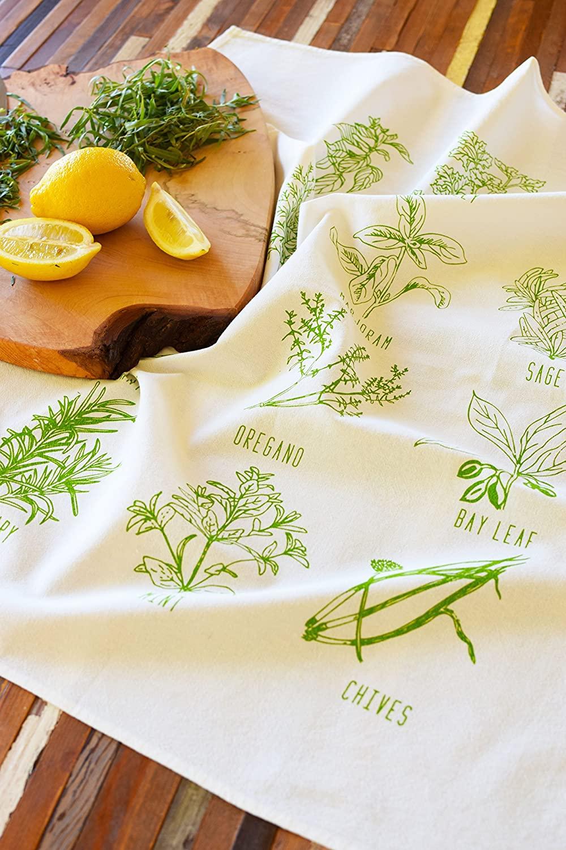 Tea Towel - Garden Herbs - Screen Printed Tea Towel - Kitchen Towel - Dish Towel - Flour Sack Towel