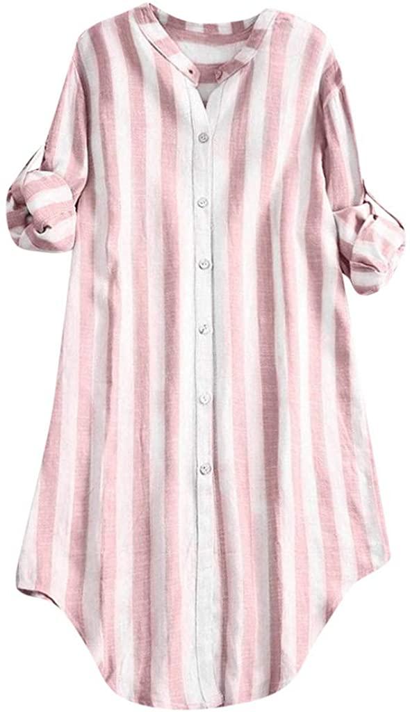 LEKODE Blouse Women's Striped Cotton Henley Shirts