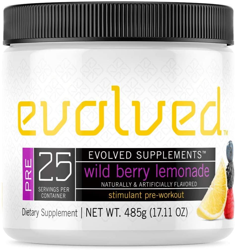 Evolved Supplements Stimulant Preworkout, 25 Servings, Wild Berry Lemonade, 3 Stage Caffeine Release, Pump, Focus, Endurance Complex with Beta Alanine, Nitrosigine, KSM 66, Alpha GPC