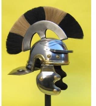 Roman Centurian Officer's Helmet - Black/White Plume - Costume