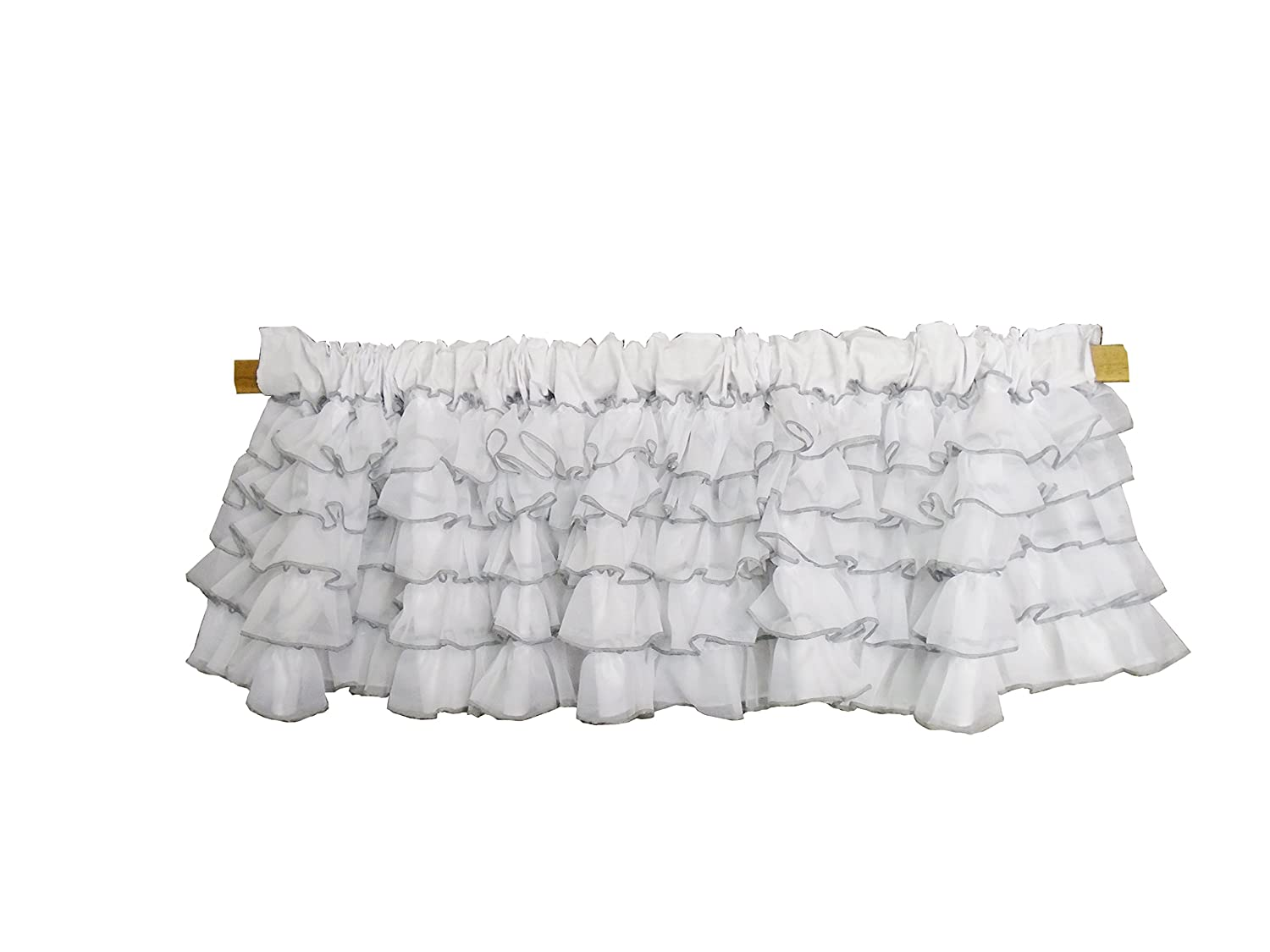 Baby Doll Bedding Layered Window Valance, White/Grey