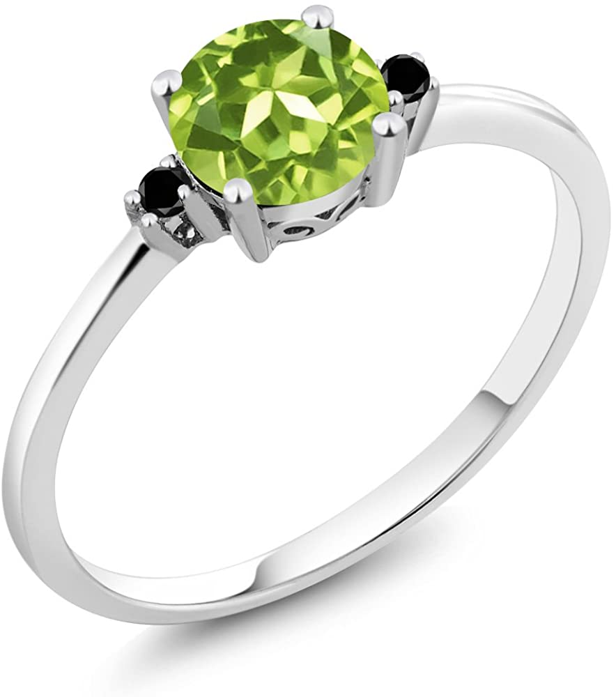 Gem Stone King 10K White Gold Engagement Solitaire Ring set with 0.88 Ct Round Green Peridot and Black Diamonds