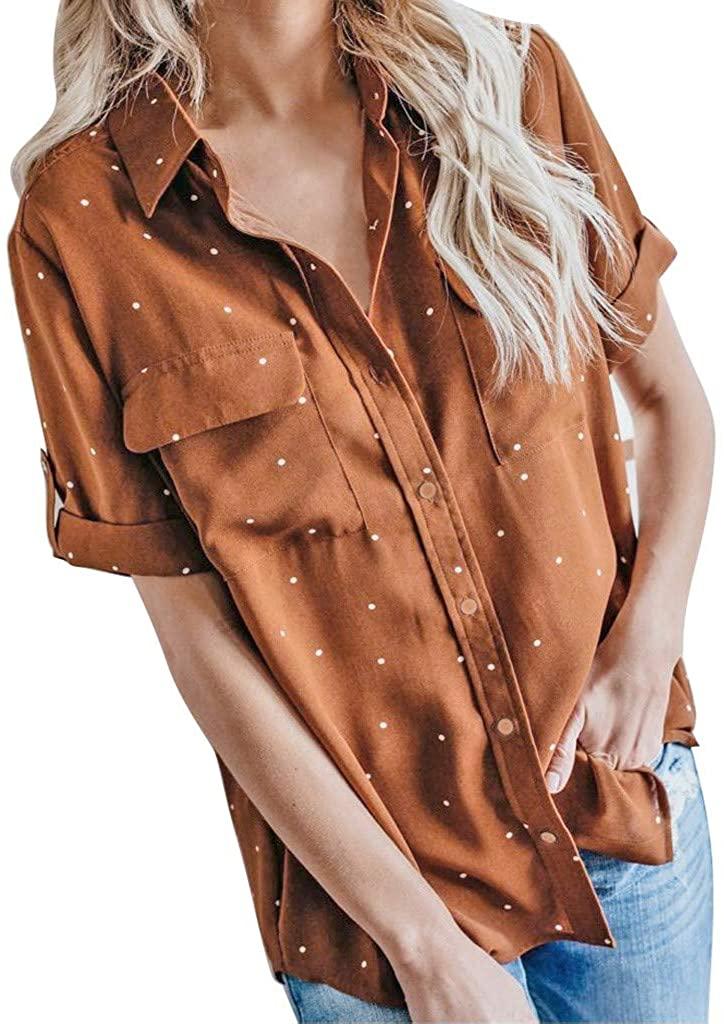Woman Women Blouse Short Sleeve Shirt Chiffon Casual Shirts Tops