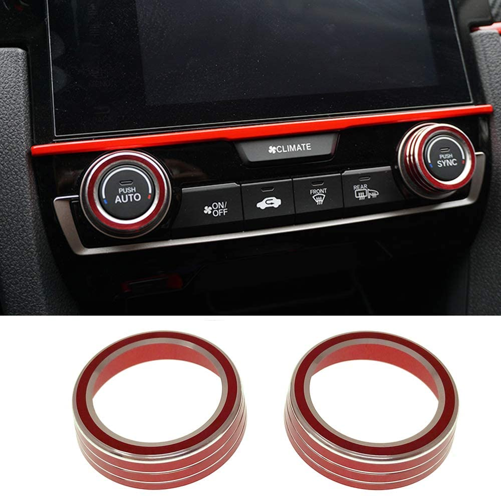 Air Conditioning AC Knob Rings Climate Temperature Control Switch Cover Trim For Honda 10th Gen Civic 2016 2017 2018 2019 2020