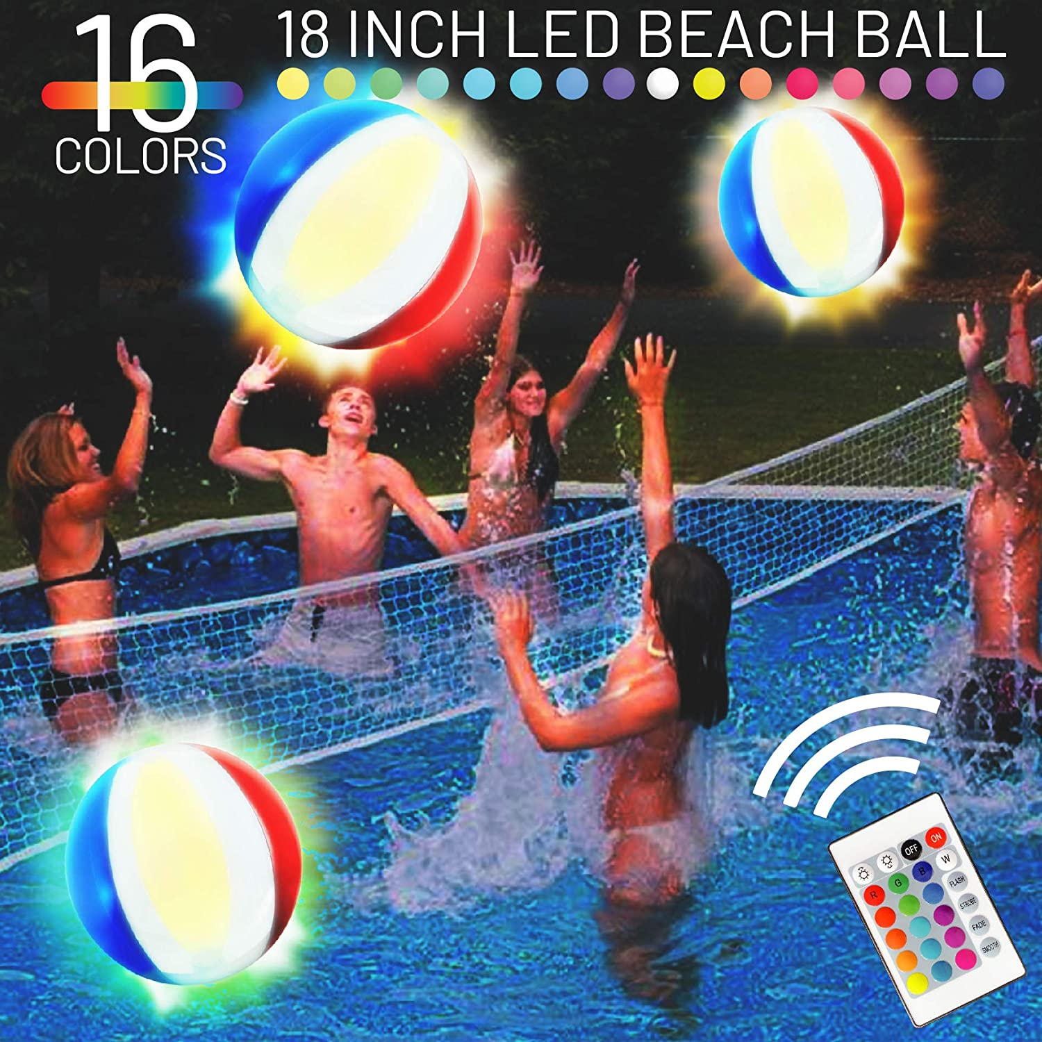 EYEWALK 18 LED Beach Ball Pool Volleyball, Inflatable Pool Toy Float, 16 Color Light Up Basketball Ball for Teens Adults, Pool Party Beach Games Night Swim Camping Lighting Pool Decorations (1PC)