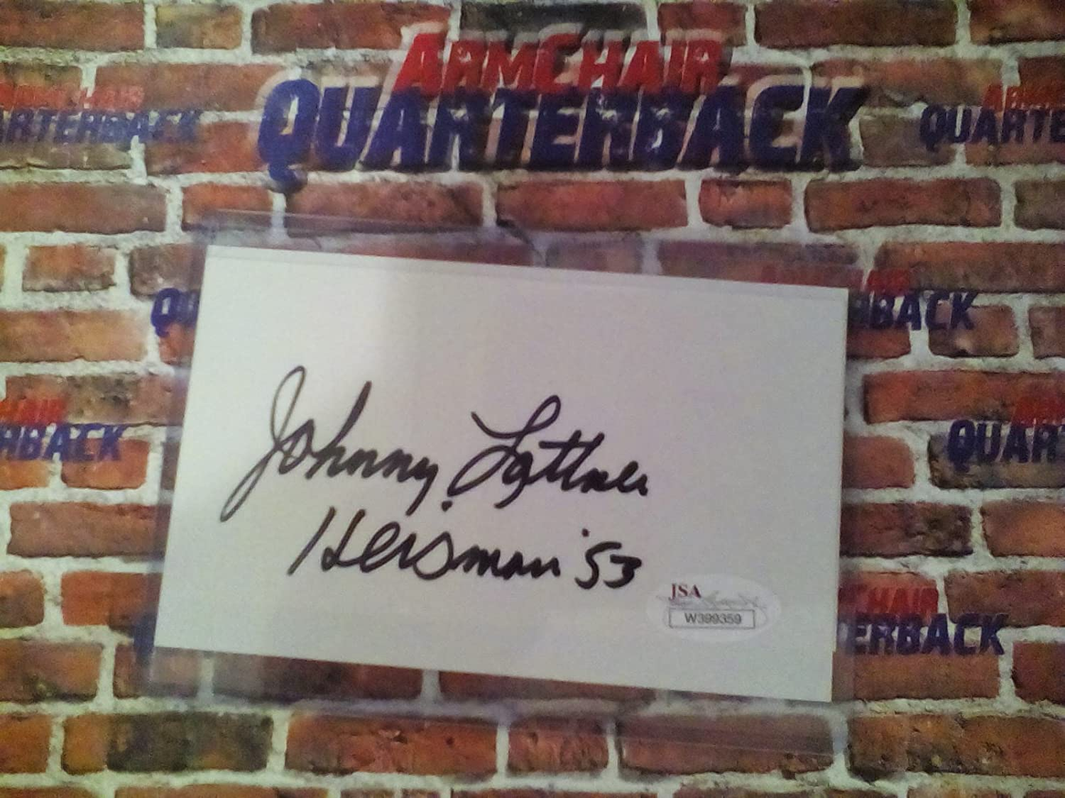 Johnny Lattner autographed 3x5 index card (JSA)