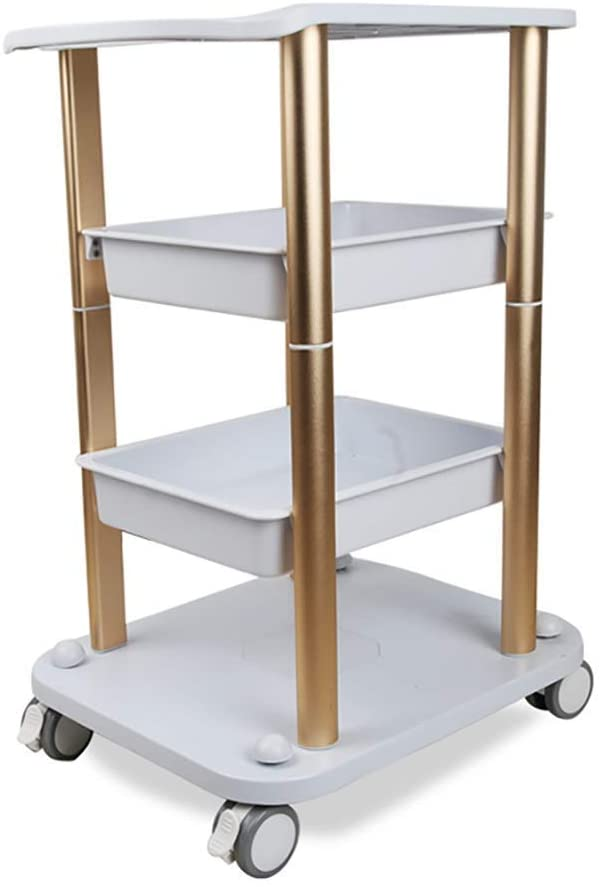 PLLP Hospital Trolley, Medical Supplies Rack,Medical Cart Tool 4 Tier Beauty Salon Cart with Abs Drawer, 100 Kg Capacity, Spa Center Hairdressing Stylist Utility Cart with Wheel,Golden