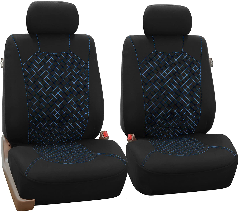 FH Group FB051013 Multifunctional Flat Cloth Split Bench Cover (40/60 Split, 40/20/40 Split and 50/50 Split) w, Black/Black Color - Fit Most Car, Truck, SUV, or Van