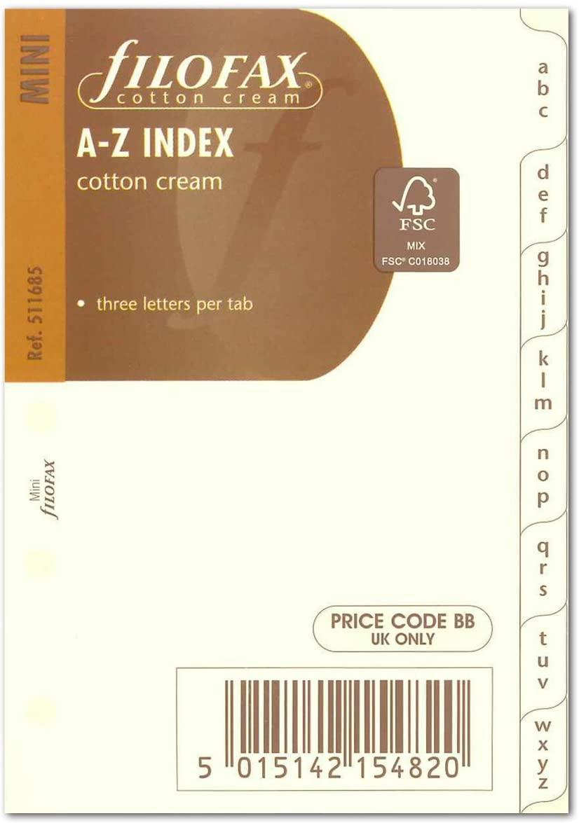 Filofax Accessories A-Z, 3 Letter Index Tabs, Cotton Cream Mini Size - FF-511685