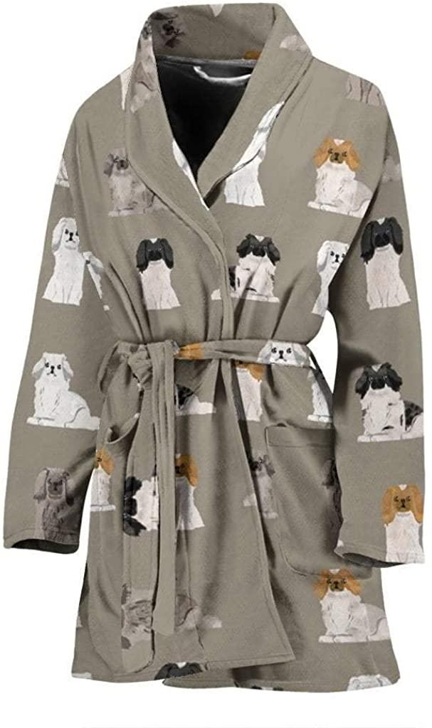 Pekingese Dog Pattern Print Women's Bath Robe
