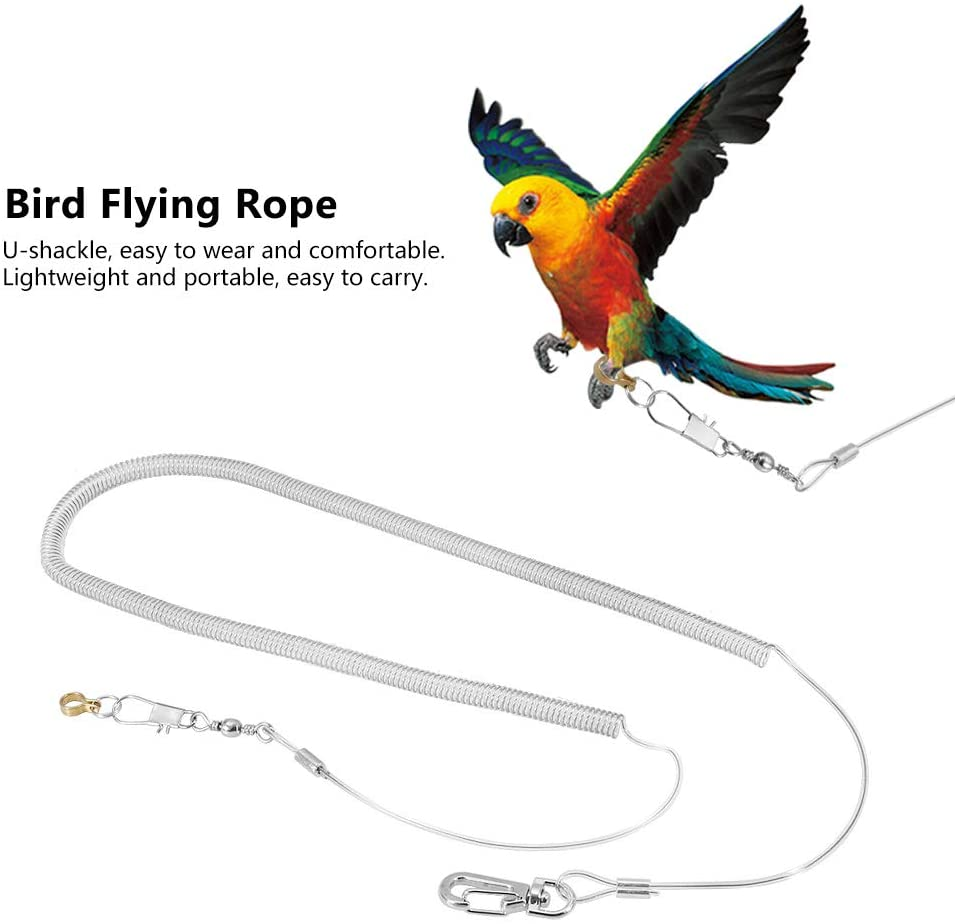 AYNEFY 6m Bird Flying Rope Parrot Bird Anti-bite Outdoor Flying Training Traveling Walking Rope Pet Bird Leash Kits Random Color (Foot Ring Dia. 6.5mm)