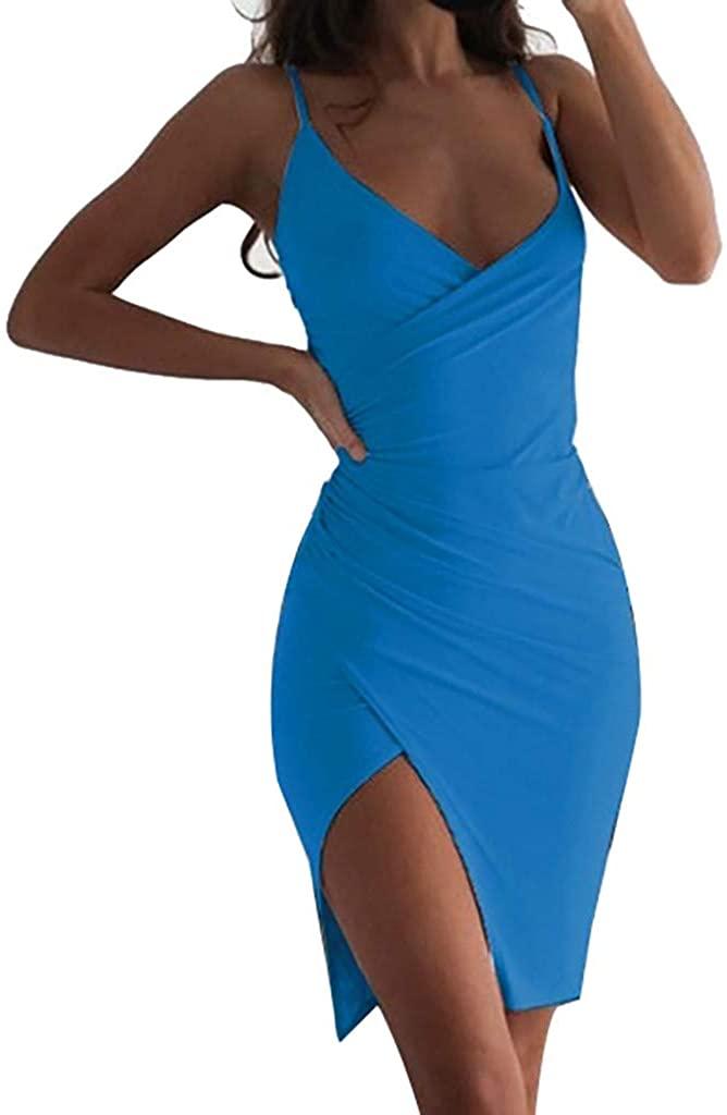 Ninasill Hot!Slit Irregular Nightclub Dress V-Neck Low-Cut Sling Backless Package Hip Skirt Sexy Summer Tight Formal Dress Blue