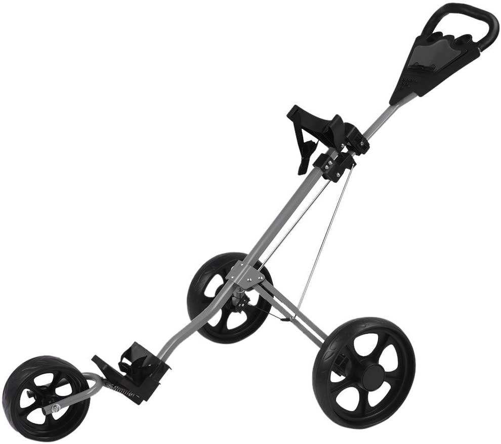 Landscap Foldable 3 Wheel Golf Pull Push Cart Trolley Scorecard Drink Holder Folding Lightweight Golf Cart