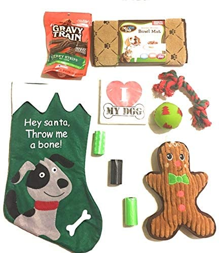 Christmas Stocking Bundle for Dog, Jerky Treats,Rope and Squeaky Ball,Squeaky Gingerbread Toy, 3 Rolls Disposable pet bags,Pet Bowl Mat, I LOVE MY DOG Beverage Napkins for PET OWNER-10 items